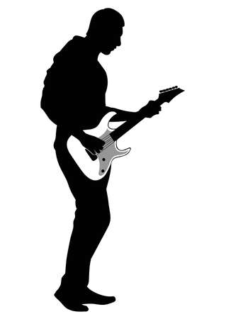 Abstract silhouette of a musician playing the guitar - vector illustration.