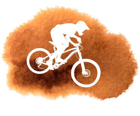 Silhouette of a biker descending on a mountain bike on a slope - vector illustration