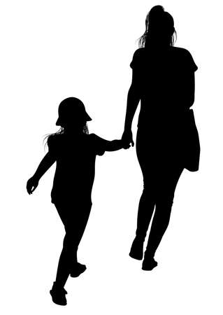 Silhouette of a young mother with her daughter late for an event - vector