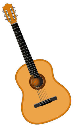 Color image of six-string acoustic guitar - vector illustration Illustration