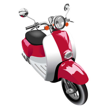 Picture of motor scooter of old model - isolated on white Illustration