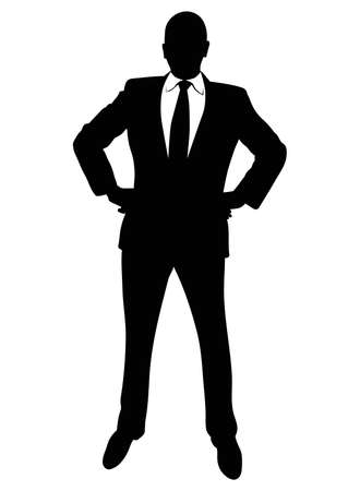 Silhouette of a business man in a suit standing - vector Фото со стока - 110249705