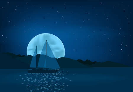 Yacht sails on the background of the moon - vector illustration