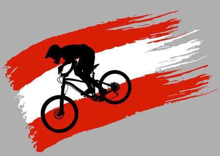 The contour of the cyclist on the stylized flag of Austria - vector