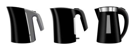 Set of three black electric kettles - vector illustration