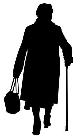 Silhouette of an elderly woman with a cane and a bag - vector