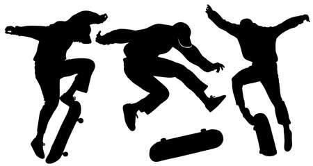 Set of three silhouettes of teenagers jumping on a skateboard