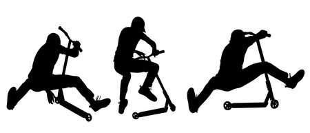 Nastolatek wykonuje triki skokowe na skuterze - ilustracja wektorowa