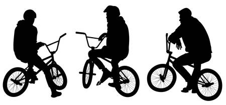 Set of three silhouettes of teenagers sitting on bicycles - vector illustration