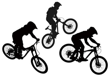 Set of mountain bike cyclists silhouettes - vector