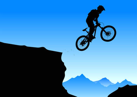 Silhouette of a jumping cyclist on an abstract mountain background. - vector 일러스트
