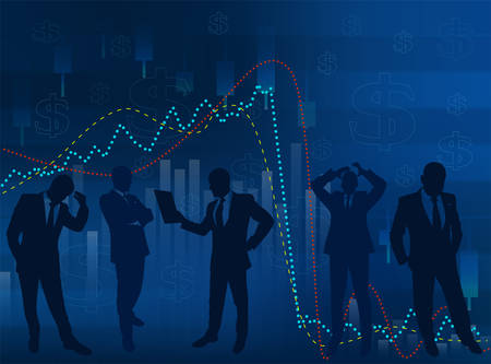 Silhouettes of businessmen on a background of abstract financial charts- vector illustration