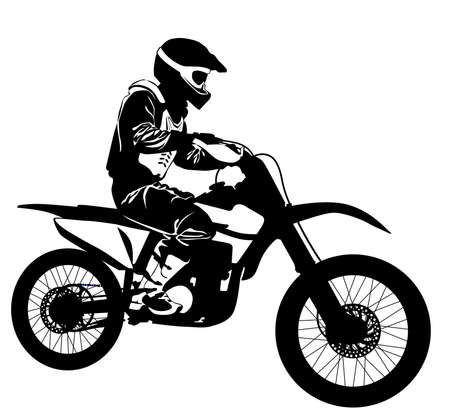 Silhouette of a motorcyclist on a sports bike - vector illustration. Vettoriali