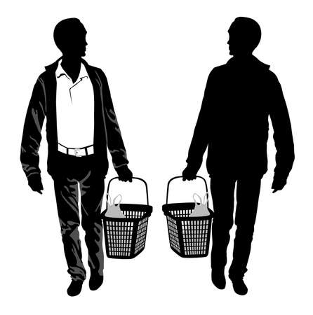 Silhouette of a man with shopping basket - vector