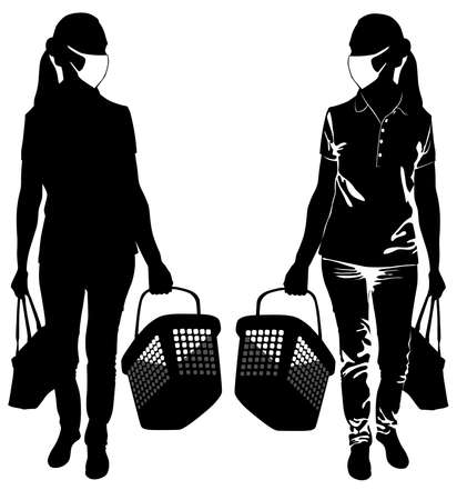 Silhouettes of women in medical mask with shopping baskets - vector illustration 向量圖像