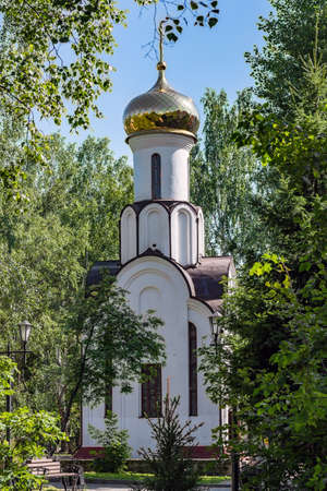 Tomsk / Russia - July 18, 2020. The Chapel of the Transfiguration of the Lord. The construction of the chapel was dedicated to the memory of Tomsk citizens - liquidators of the consequences of the Chernobyl accident. 新聞圖片