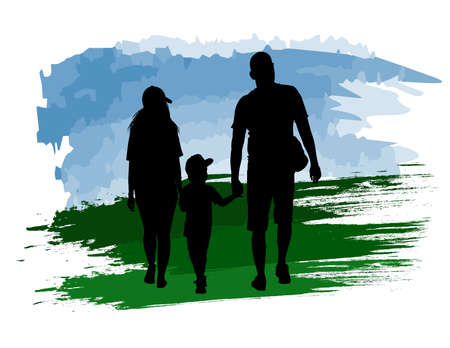 Silhouette of a family walking holding a childs hands on an abstract background