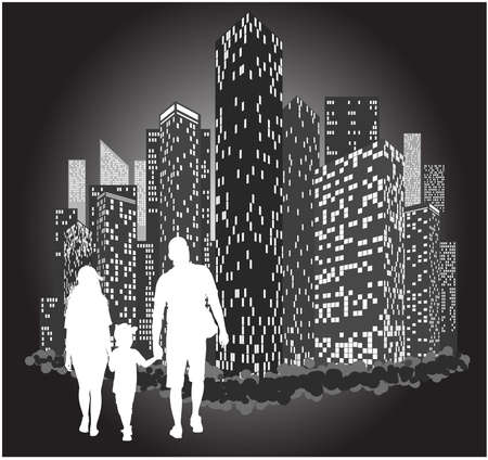 Silhouette of a family walking holding a childs hands against the background of the city