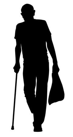 Silhouette of an elderly man with a cane and a package in his hands - vector illustration