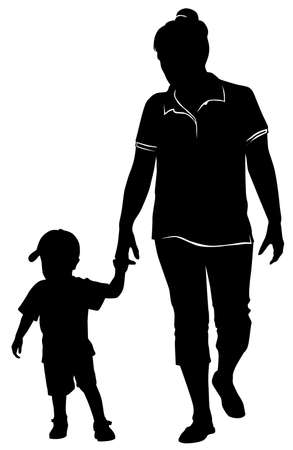 Silhouette of mom walking by the hand with a little boy -vector illustration