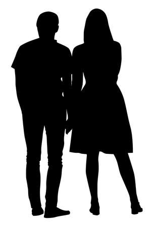 Silhouette of a guy and a girl standing close to each other - vector illustration