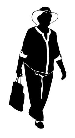 Silhouette of a walking elderly woman in a hat and a bag in her hands - vector