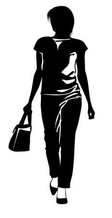 Silhouette of a girl in trousers walking with a handbag in hand - vector