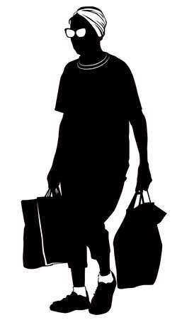 Silhouette of an elderly woman walking from the store with packages in hands 向量圖像