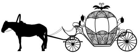 Silhouette image of a horse harnessed to a carriage 向量圖像
