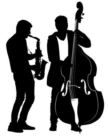 Silhouettes of street musicians performing musical composition on saxophone and cello - vector illustration