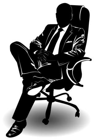 Silhouette of a man in a business suit sitting on an armchair - vector illustration