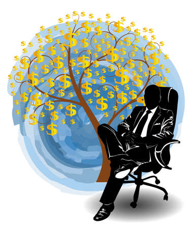 Silhouette of a man in a business suit sitting in a chair near the money tree - vector 向量圖像