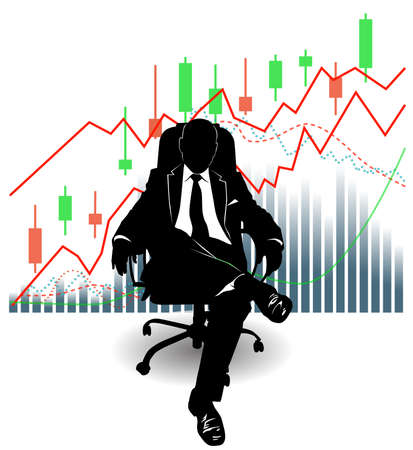 Silhouette of a man in a suit sitting on an armchair against the background of financial charts