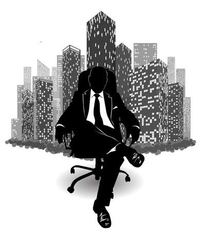 Silhouette of a man in a suit sitting on an armchair against the background of urban skyscrapers - vector illustration