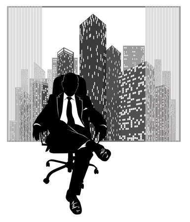 Silhouette of a man in a suit sitting on an armchair against the background of a window with urban skyscrapers
