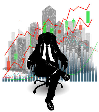 Silhouette of a businessman sitting in a chair against the background of skyscrapers and financial charts - vector illustration 向量圖像