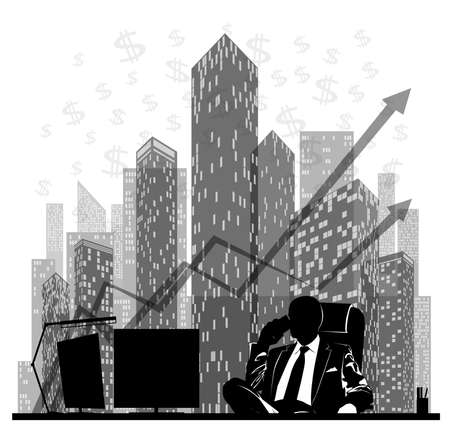 Silhouette of a businessman talking on the phone at his desk against the background of skyscrapers and financial charts -vector illustration 向量圖像