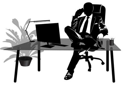 Silhouette of businessman talking on the phone at his desk - vector illustration 向量圖像