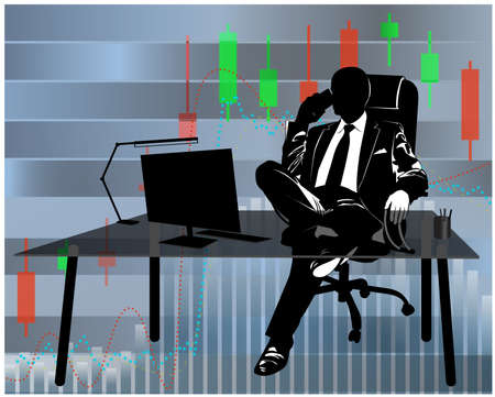Silhouette of businessman talking on the phone at his desk against the background of financial charts - vector illustration
