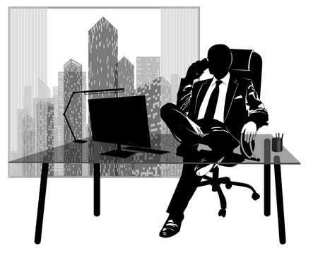 Silhouette of a businessman talking on the phone at his desk against the background of a window with skyscrapers - vector