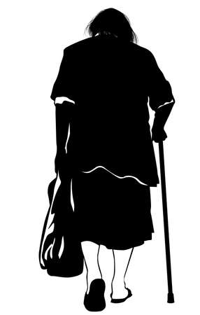 Silhouette of an elderly woman walking with a bag and crutch in her hands - vector illustration 向量圖像
