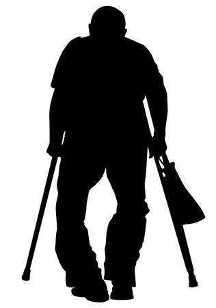 Silhouette of an elderly man walking with a crutch and a cane in his hands - vector illustration