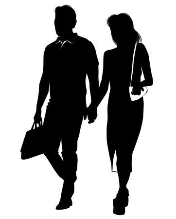 Silhouette of a young man walking hand in hand with a girl - vector illustration