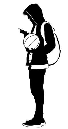 Silhouette of a young man with a ball and a cell phone - vector illustration 向量圖像