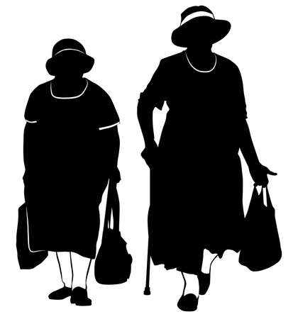 Silhouette of two elderly women walking with bags from the store - vector illustration 向量圖像