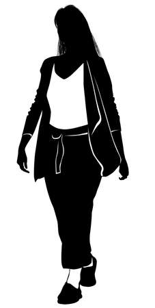 Silhouette of a young woman walking in summer clothes - vector illustration