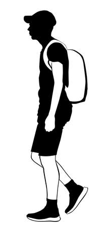 Silhouette of a young man walking in summer clothes with a backpack behind his back - vector illustration