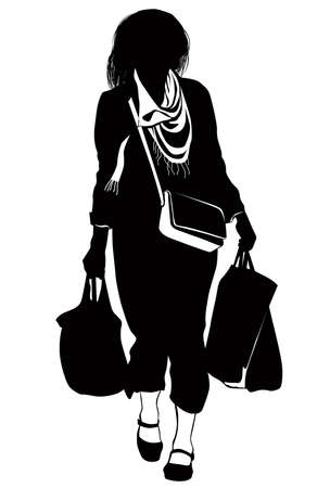 Silhouette of a woman walking from the store with packages in hands