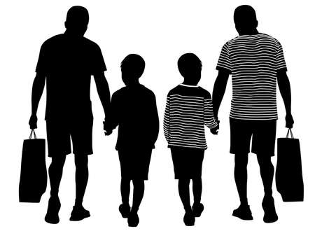 Silhouette of a father walking by the hand with his little son - vector illustration