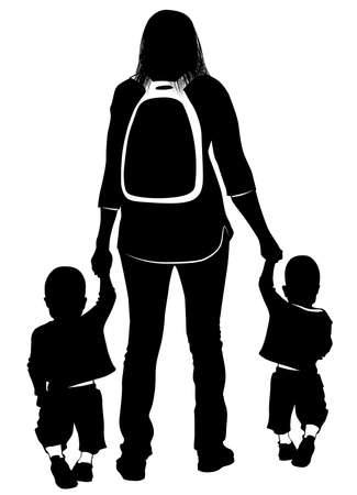 Silhouette of a young mother leading the hands of her children -vector illustration 向量圖像